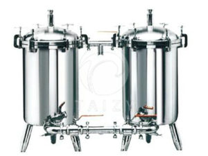 What is the role of milk double filter in the dairy processing line?